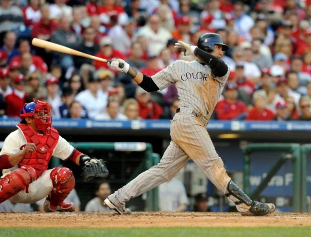PHILADELPHIA ,PA--OCTOBER 8TH 2009--Carlos Gonzalez hits ...