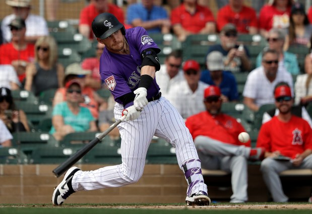 Colorado Rockies' Trevor Story doubles against ...