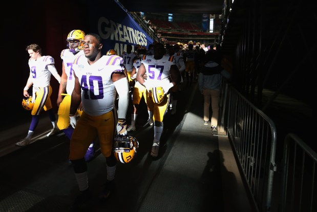 Linebacker Devin White (40) of the LSU Tigers walks off the field before the PlayStation Fiesta Bowl against the UCF Knights at State Farm Stadium on Jan. 1, 2019 in Glendale, Ariz.