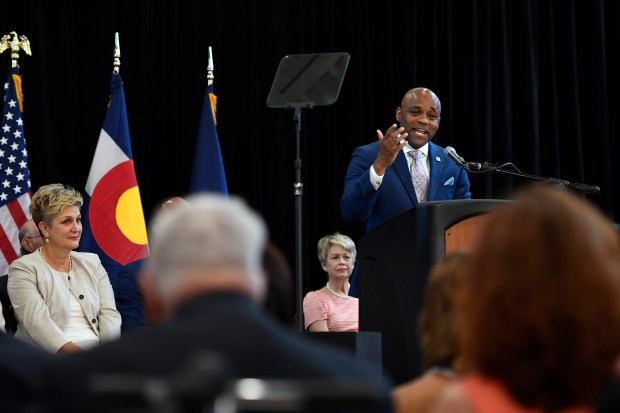 Denver Mayor Michael Hancock delivering the ...