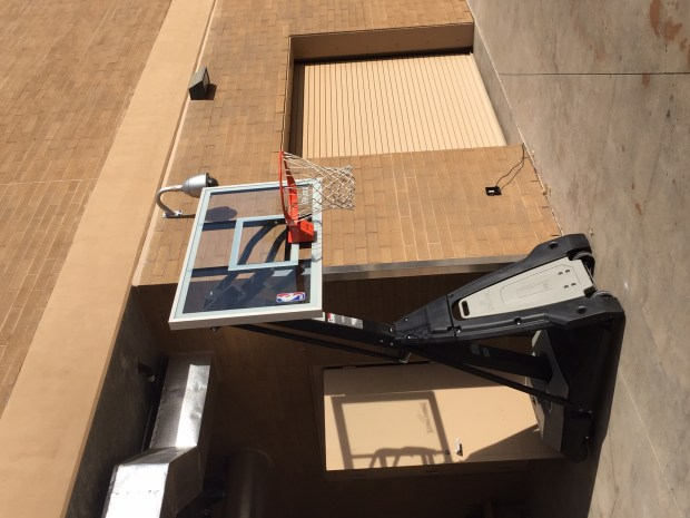 The basketball hoop Colorado Rockies shoot on at the loading bay of their spring training practice facility in Arizona. (Patrick Saunders, The Denver Post)