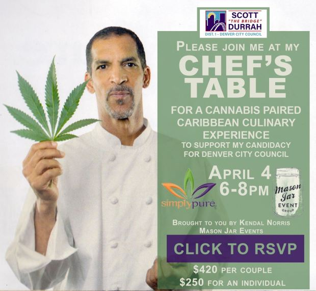 An invitation to a cannabis fundraiser for Scott Durrah, candidate for Denver City Council District 1.