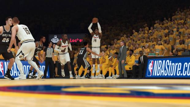 Nuggets guard Gary Harris shoots a 3-pointer against the Spurs in NBA 2K19.