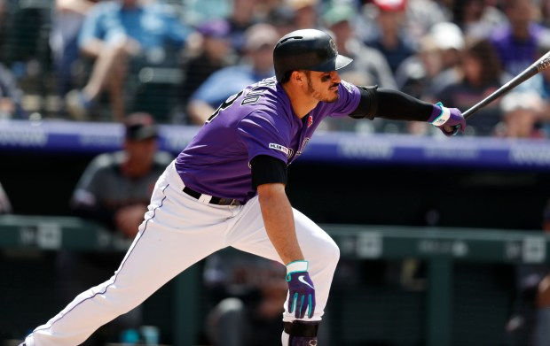 Colorado Rockies' Nolan Arenado singles off ...