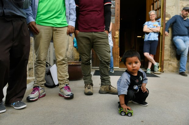 Ilser Reynoso Perez, 3, plays with ...