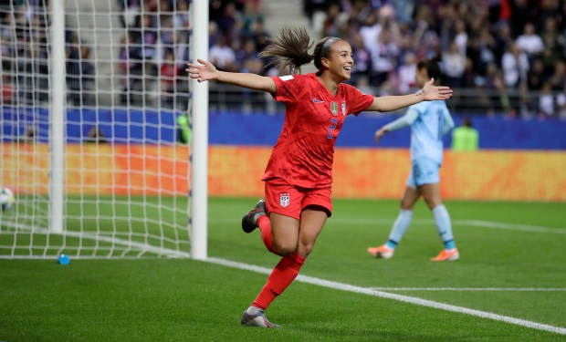 United States' Mallory Pugh celebrates after ...