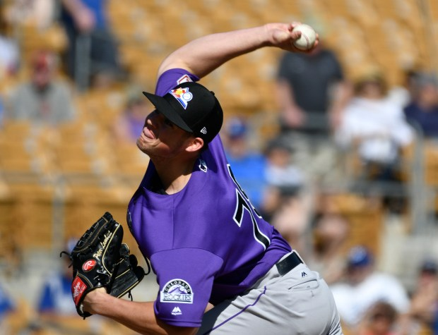 Colorado Rockies pitcher Peter Lambert (78) ...