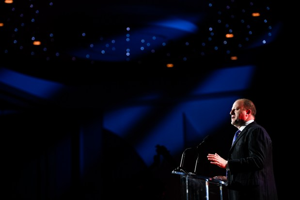Colorado Governor Jared Polis speaks during ...
