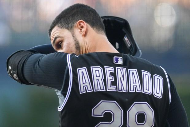 Nolan Arenado (28) of the Colorado ...