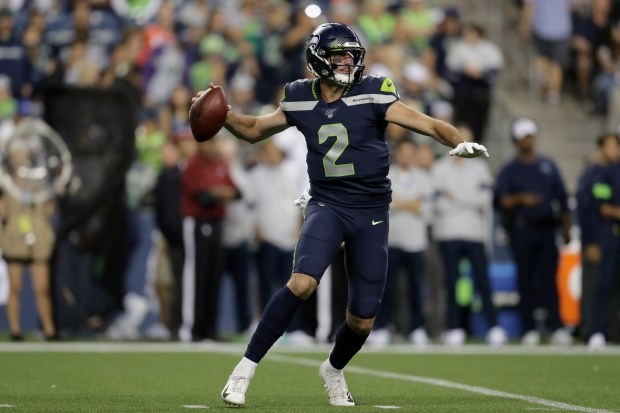 Seattle Seahawks quarterback Paxton Lynch starts ...