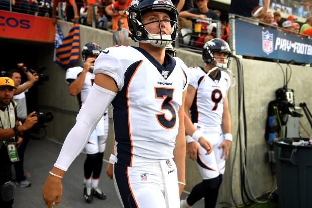 Denver Broncos quarterback Drew Lock #3 ...