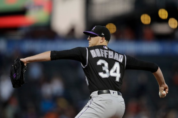 Colorado Rockies pitcher Jeff Hoffman works ...