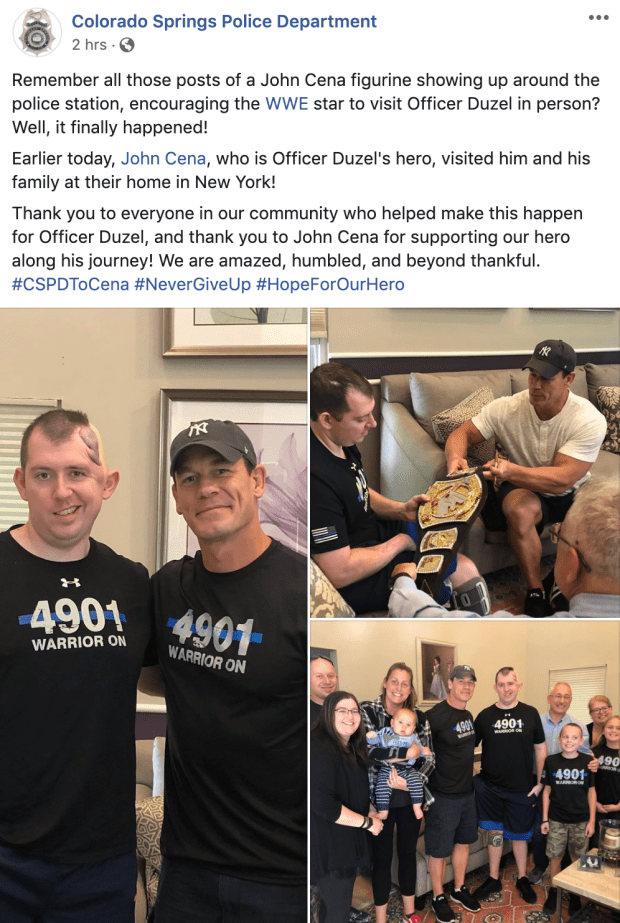 John Cena pays visit to Colorado Springs officer who was shot in head