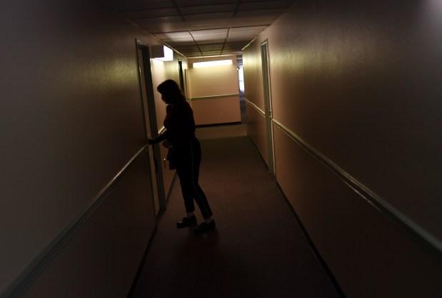 Royla Rice, 53, locks the door ...