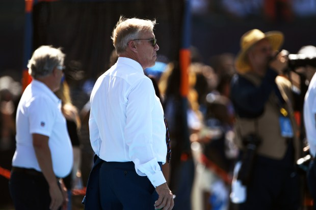 John Elway on the field before ...
