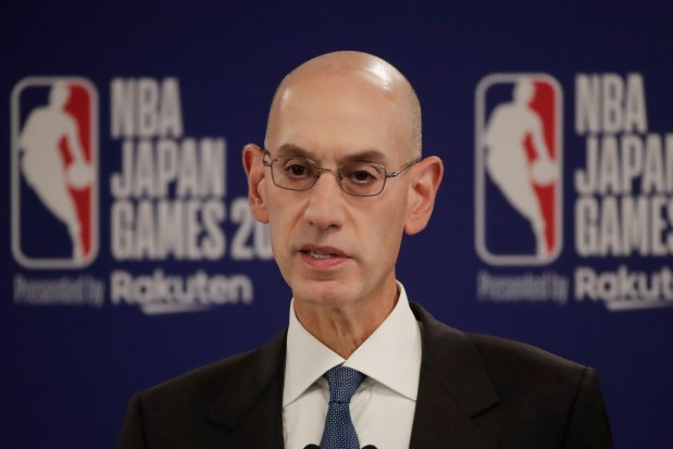 NBA Commissioner Adam Silver speaks at ...