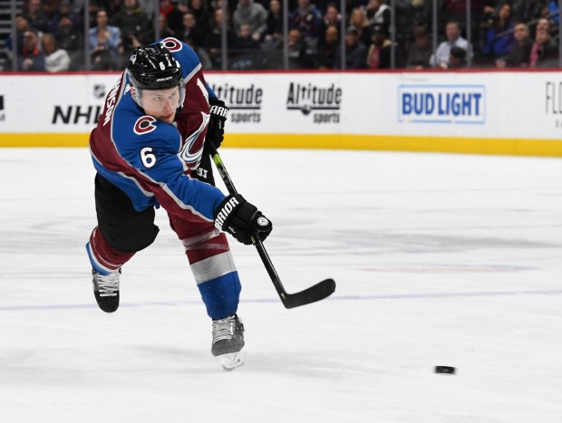 Colorado Avalanche defenseman Erik Johnson (6) ...