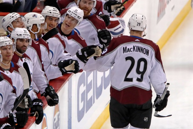 Colorado Avalanche's Nathan MacKinnon (29) returns ...