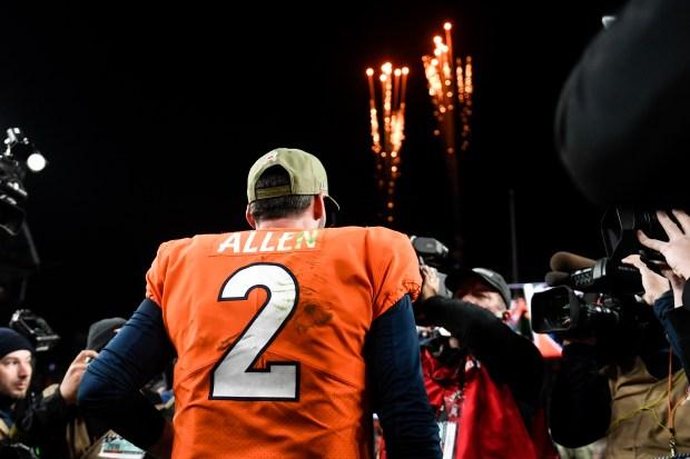 Brandon Allen (2) of the Denver ...