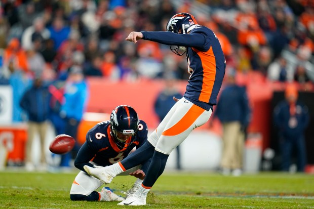 Denver Broncos kicker Brandon McManus kicks ...