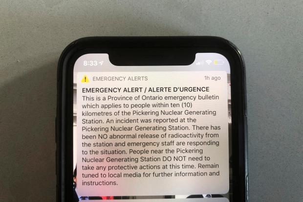 An emergency alert issued by the ...