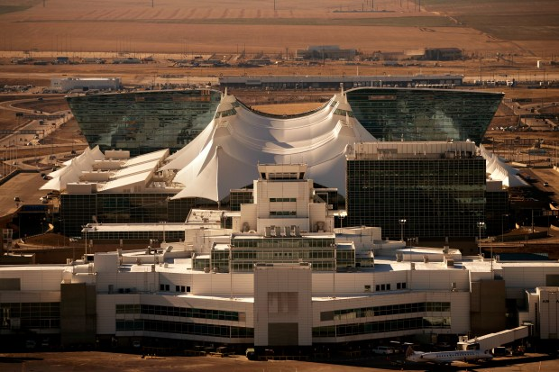 The Denver Airport Westin behind the ...