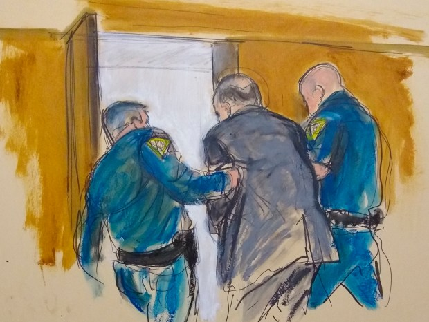 In this courtroom sketch, Harvey Weinstein, ...