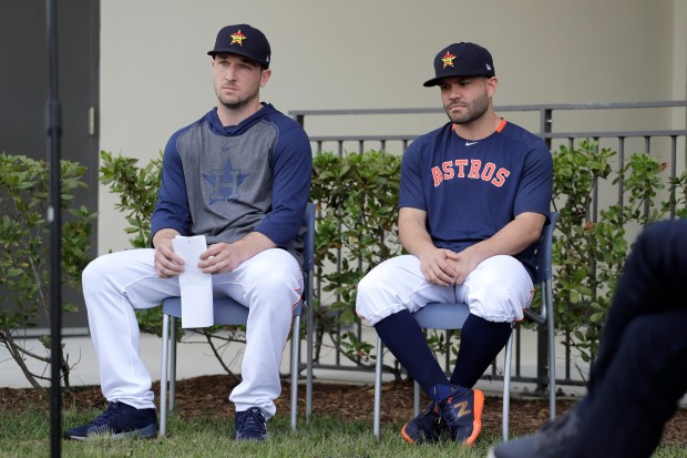 Houston Astros infielder Alex Bregman, left, ...