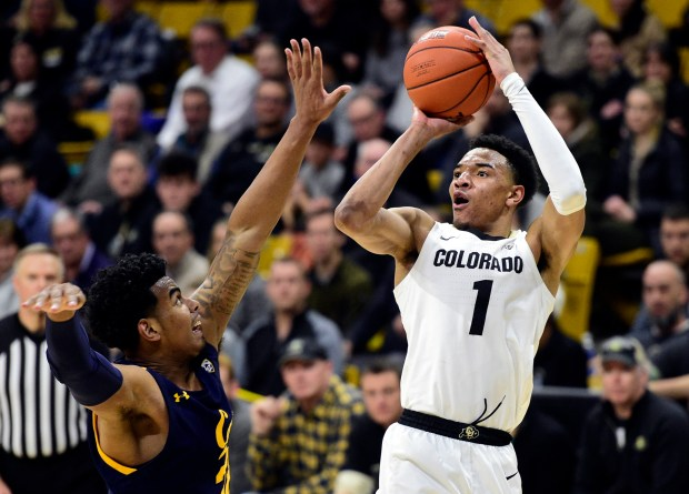 Colorado's Tyler Bey shoots over California's ...