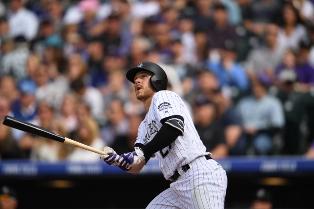 Trevor Story (27) of the Colorado ...