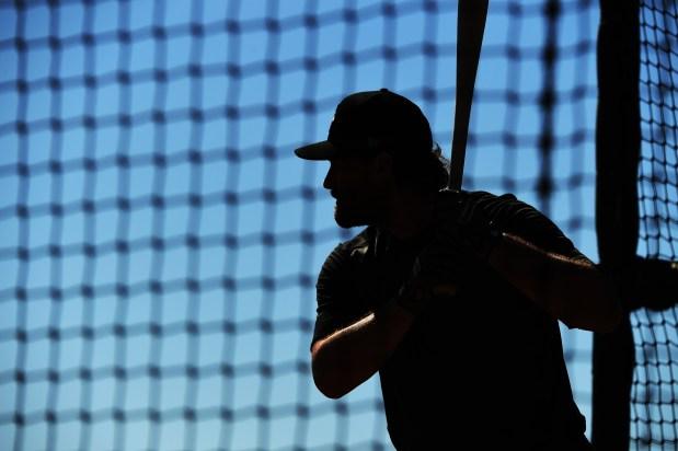 Daniel Murphy (9) takes batting practice ...