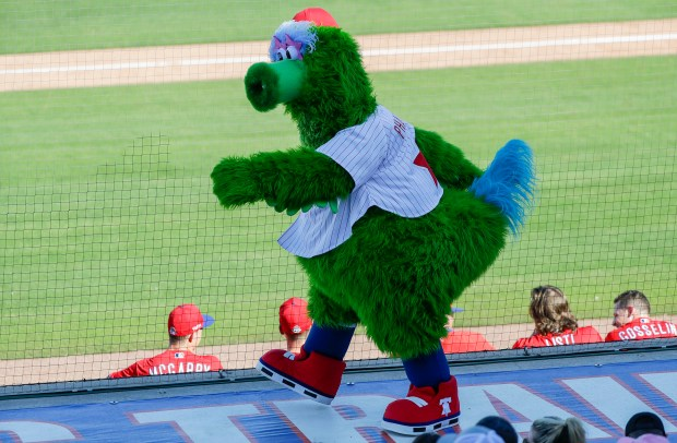 The Phillie Phanatic mascot walks on ...