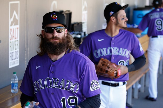 Charlie Blackmon (19) and ... of Colorado Rockies