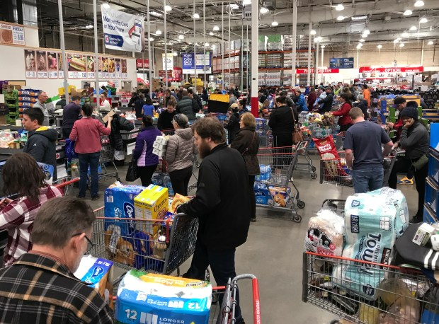 The Arvada Costco Warehouse was busy ...
