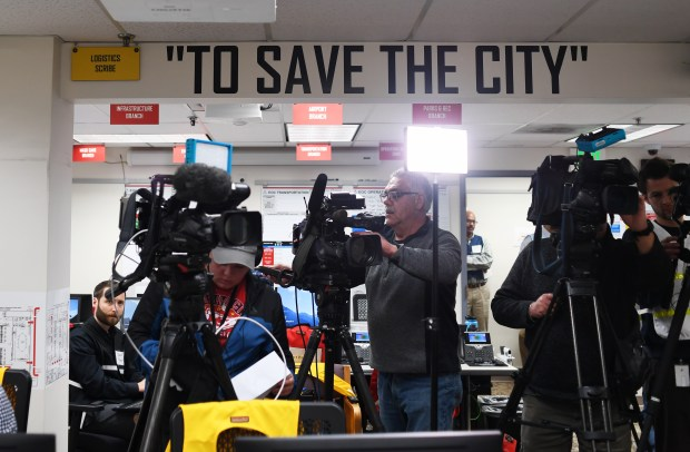 Media sets up before Denver Mayor ...