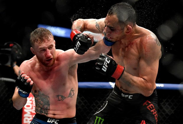 Justin Gaethje (L) of the United ...