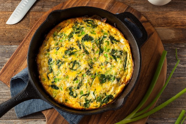 This homemade frittata has spinach and ...