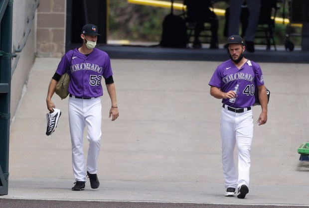 Colorado Rockies relief pitchers Daniel Bard, ...