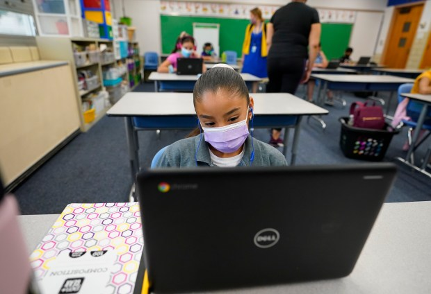 Esperanza Raimirez works on a laptop ...