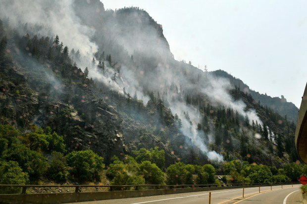 The Grizzly Creek Fire burns down ...