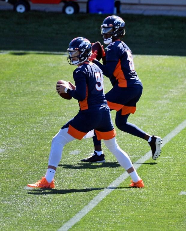 Denver Broncos quarterbacks Drew Lock, #3, ...