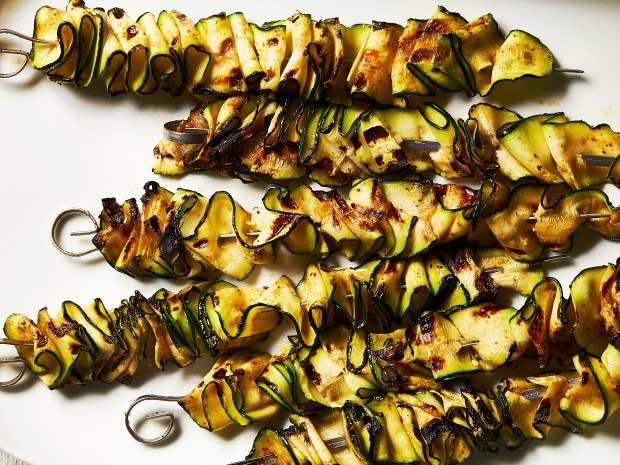 Grilled zucchini ribbons in New York, ...