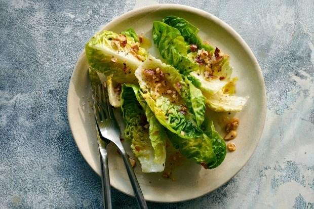 Little gems salad with garlicky almond ...
