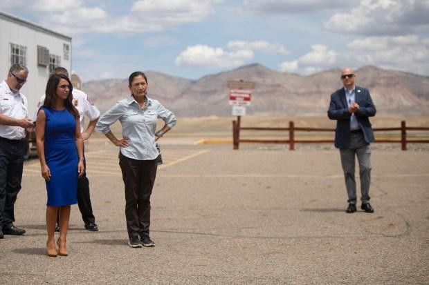 U.S. Interior Secretary Deb Haaland stands ...