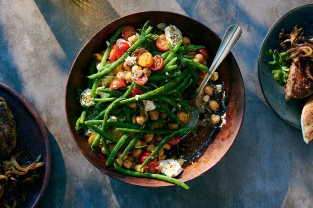 Tomato-green bean salad with chickpeas, feta ...