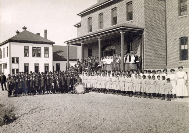 Students and faculty pose outside the Teller Indian School in Grand Junction in this undated photograph.