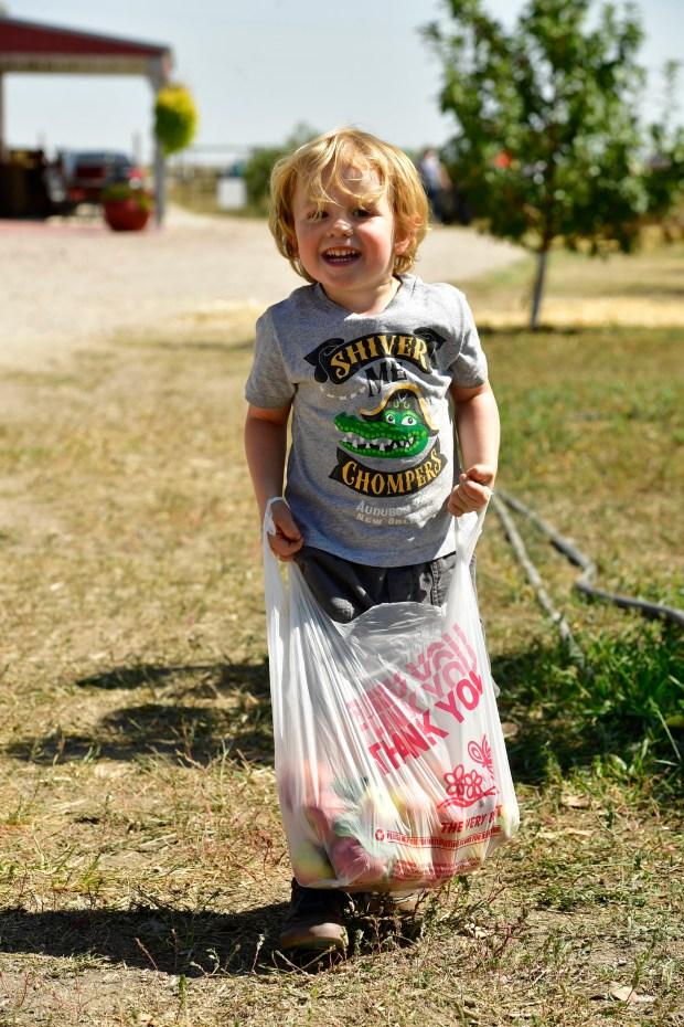 Cashel Keena, 3, carries his own ...