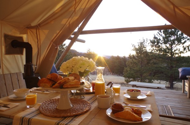 Meals are delivered to your luxury tent at Black Tree Resort at Lake George
