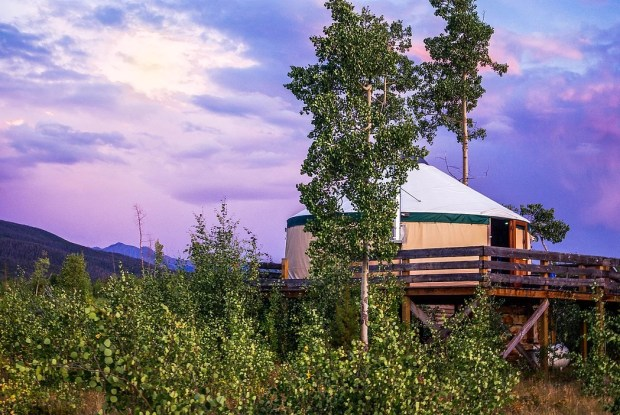 A canvas-sided yurt at Never Summer Nordic Yurts at State Forest State Park includes heating and a private deck. And privacy.