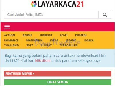 Tampilan Situs Download dan Streaming Film Online, Layarkaca21